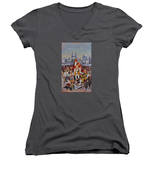 Welcoming Saint Nicolas In Maastricht Women's V-Neck T-Shirt (Junior Cut) by Nop Briex
