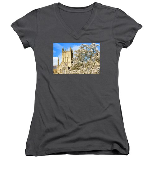 Women's V-Neck T-Shirt (Junior Cut) featuring the photograph Wells Cathedral And Spring Blossom by Colin Rayner
