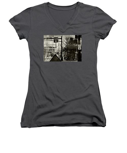 Women's V-Neck T-Shirt (Junior Cut) featuring the photograph West 7th Street by Susan Stone
