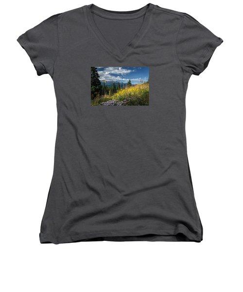 West Elk Mountain Range Women's V-Neck T-Shirt (Junior Cut) by Michael J Bauer