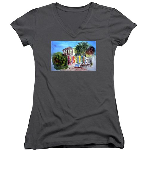 Women's V-Neck T-Shirt (Junior Cut) featuring the painting West End Market by Donna Walsh