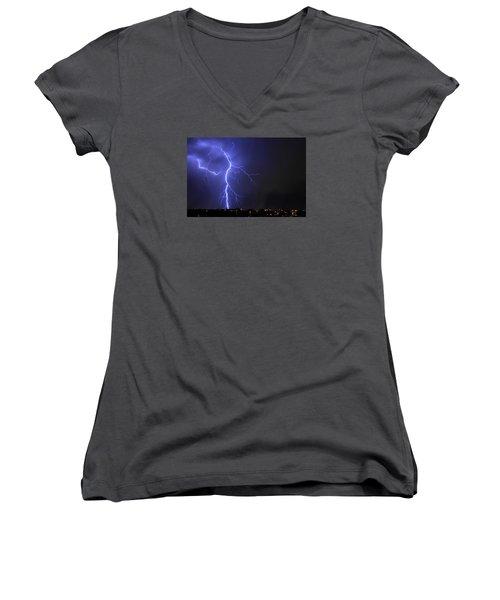 West Jordan Lightning 2 Women's V-Neck T-Shirt (Junior Cut) by Paul Marto