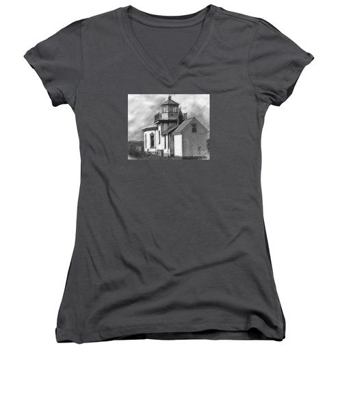 West Point Lighthouse Sketched Women's V-Neck T-Shirt