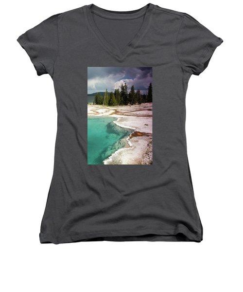 West Thumb Geyser Pool Women's V-Neck T-Shirt (Junior Cut) by Dawn Romine