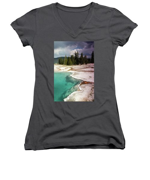 West Thumb Geyser Pool Women's V-Neck (Athletic Fit)
