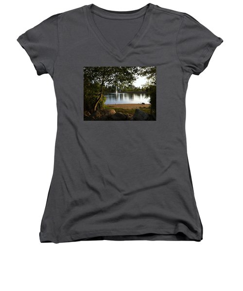 Women's V-Neck T-Shirt (Junior Cut) featuring the painting West View Of Lafarge Lake by Rod Jellison