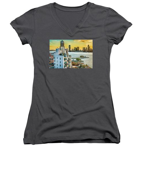Women's V-Neck T-Shirt featuring the photograph West Village To Jersey City Sunset by Chris Lord