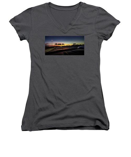 Women's V-Neck T-Shirt featuring the photograph Westbound by Randy Scherkenbach