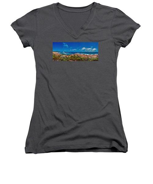 Women's V-Neck T-Shirt (Junior Cut) featuring the photograph Western Australia Beach Panorama by David Zanzinger
