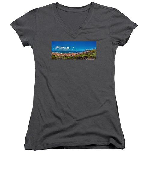 Women's V-Neck T-Shirt (Junior Cut) featuring the photograph Western Australia Beach Panorama Margaret River by David Zanzinger
