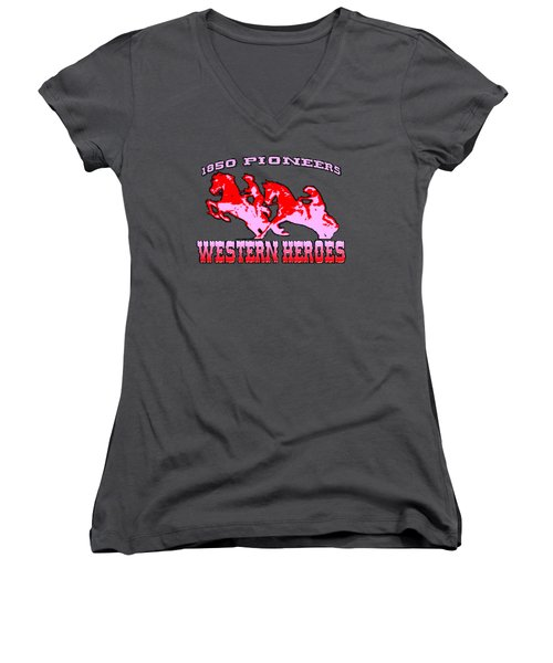 Western Heroes 1850 Pioneers - Tshirt Design Women's V-Neck (Athletic Fit)