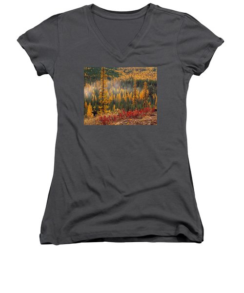 Western Larch Forest Autumn Women's V-Neck (Athletic Fit)