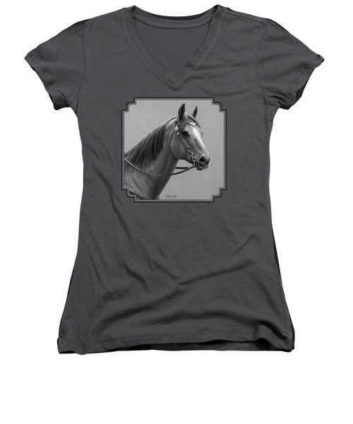 Western Quarter Horse Black And White Women's V-Neck T-Shirt (Junior Cut) by Crista Forest