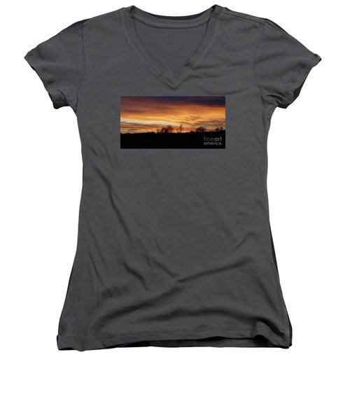 Women's V-Neck T-Shirt (Junior Cut) featuring the photograph Western Sky December 2015 by J L Zarek