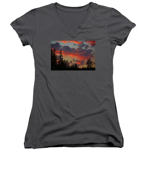 Western Sky Fire Women's V-Neck T-Shirt