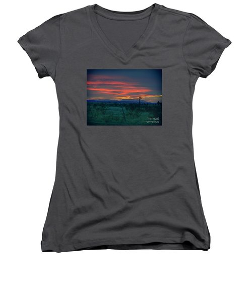 Western Texas Sunset Women's V-Neck (Athletic Fit)