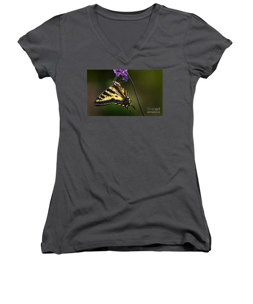 Western Tiger Swallowtail Butterfly On Purble Verbena Women's V-Neck