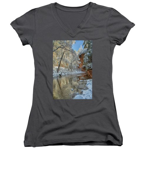 Westfork's Beauty Women's V-Neck T-Shirt (Junior Cut) by Tom Kelly
