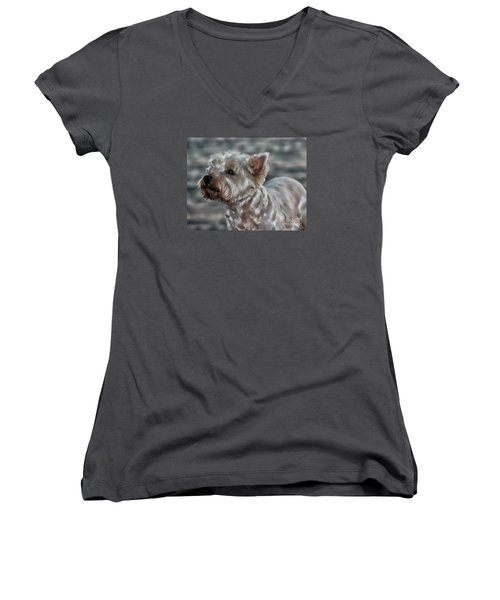 Westie Love Women's V-Neck (Athletic Fit)