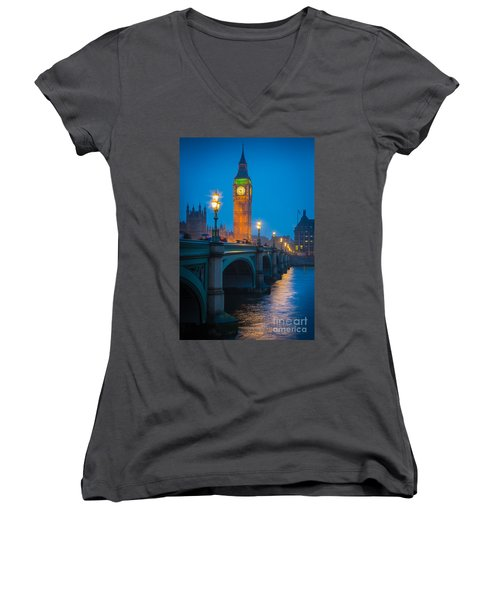 Westminster Bridge At Night Women's V-Neck (Athletic Fit)