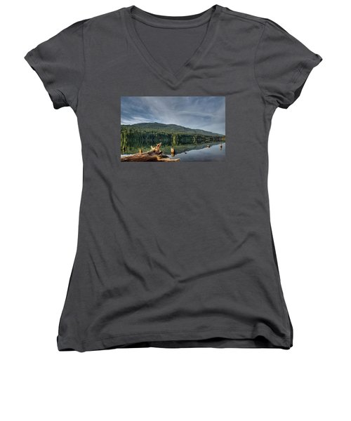 Women's V-Neck T-Shirt (Junior Cut) featuring the photograph Westwood Lake by Randy Hall