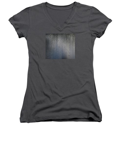 Women's V-Neck T-Shirt (Junior Cut) featuring the photograph Wet Stainless Steel by Lyle Crump