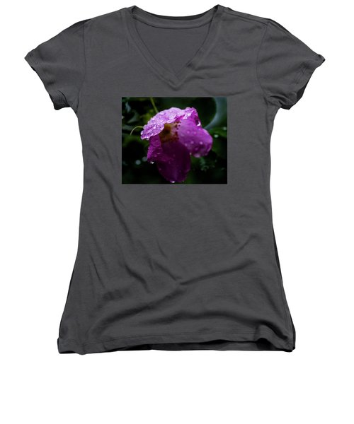 Women's V-Neck T-Shirt (Junior Cut) featuring the photograph Wet Wild Rose by Darcy Michaelchuk