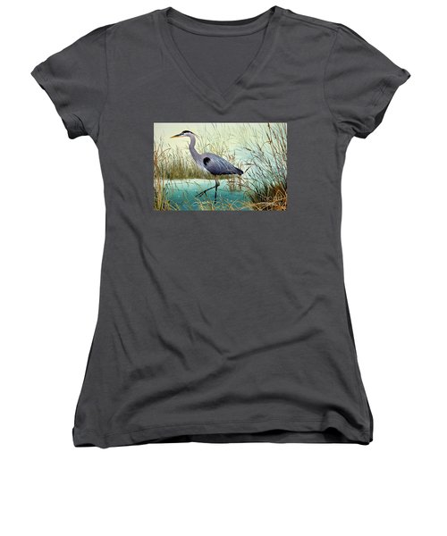 Women's V-Neck T-Shirt (Junior Cut) featuring the painting Wetland Beauty by James Williamson