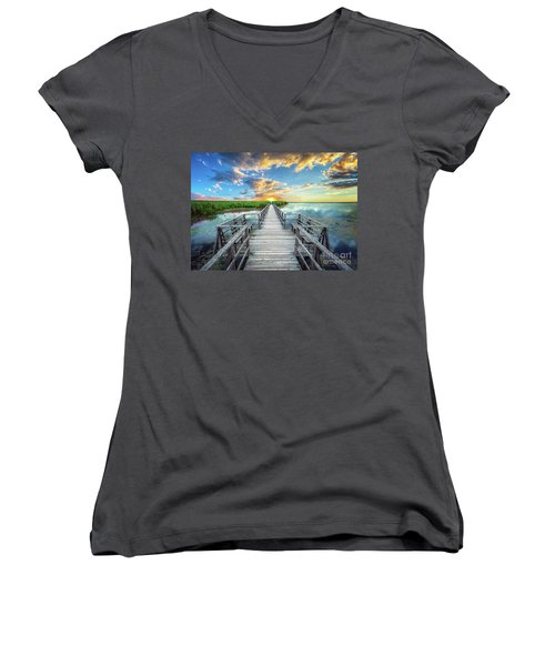 Wetland Marsh Sunrise Treasure Coast Florida Boardwalk A1 Women's V-Neck