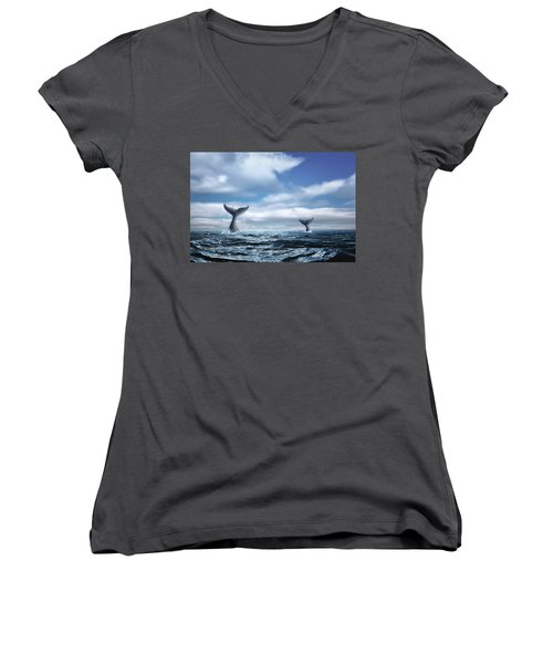 Women's V-Neck T-Shirt (Junior Cut) featuring the photograph Whale Of A Tail by Tom Mc Nemar