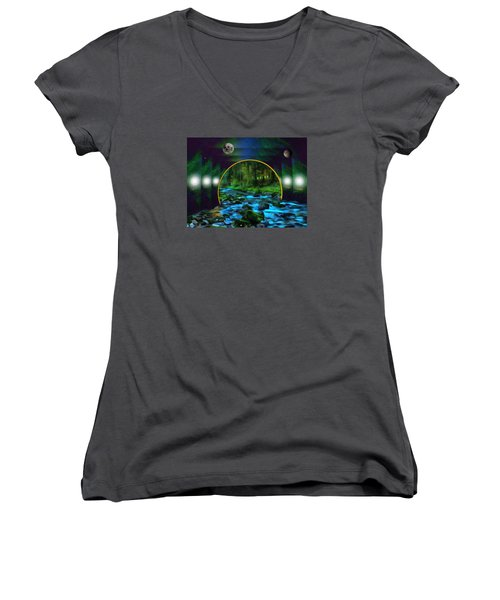 Whare Peaceful Waters Flow Women's V-Neck T-Shirt (Junior Cut) by Mario Carini