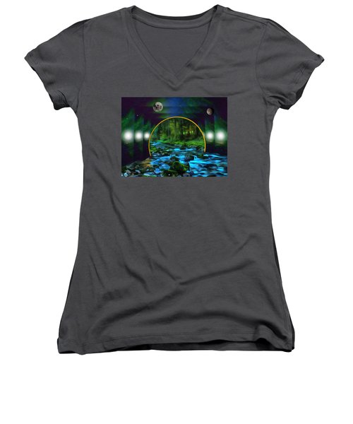 Whare Peaceful Waters Flow Women's V-Neck