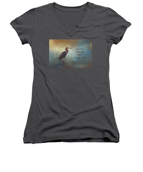 What A Wonderful World Women's V-Neck (Athletic Fit)