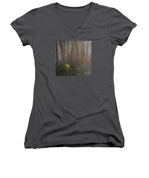Women's V-Neck T-Shirt (Junior Cut) featuring the painting What by Denise Tomasura