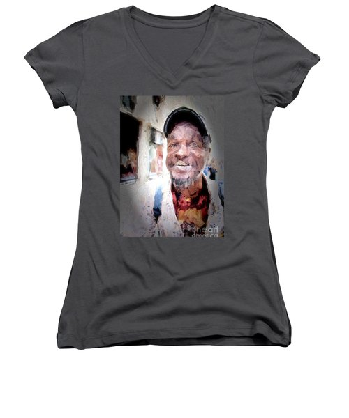 Women's V-Neck T-Shirt (Junior Cut) featuring the photograph The Smiling Man by Jack Torcello