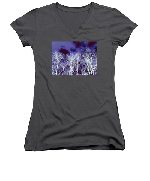 Women's V-Neck T-Shirt (Junior Cut) featuring the photograph What Lies Above by Shana Rowe Jackson