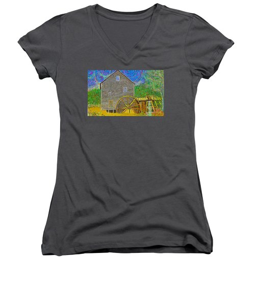 Women's V-Neck featuring the painting Water Wheel  by Hidden Mountain