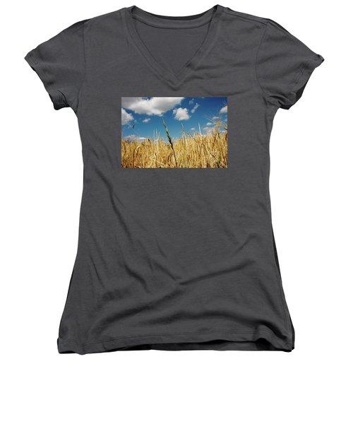 Women's V-Neck T-Shirt (Junior Cut) featuring the photograph Wheat On The Rhine by KG Thienemann