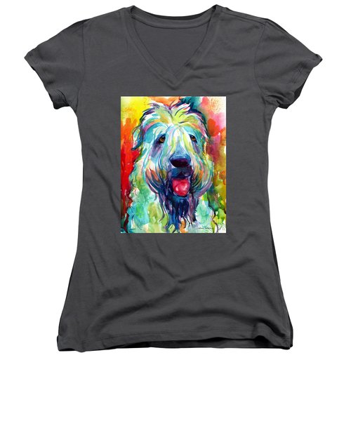Wheaten Terrier Dog Portrait Women's V-Neck