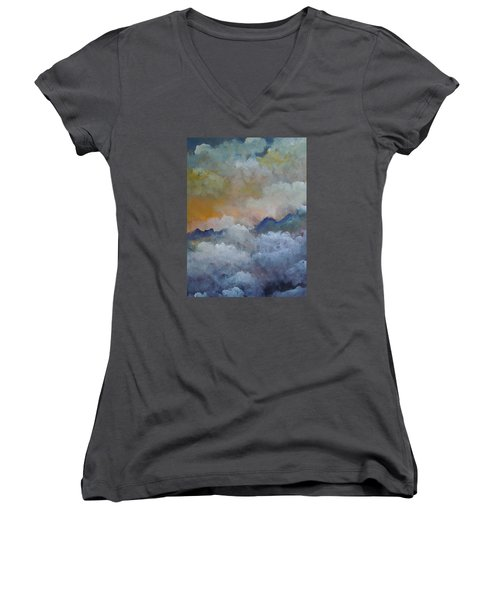 Women's V-Neck T-Shirt (Junior Cut) featuring the painting When I Consider Your Heavens Psalm 8 by Dan Whittemore