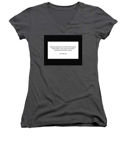 When Making A Choice Between Two Sides... Women's V-Neck T-Shirt (Junior Cut) by David Miller