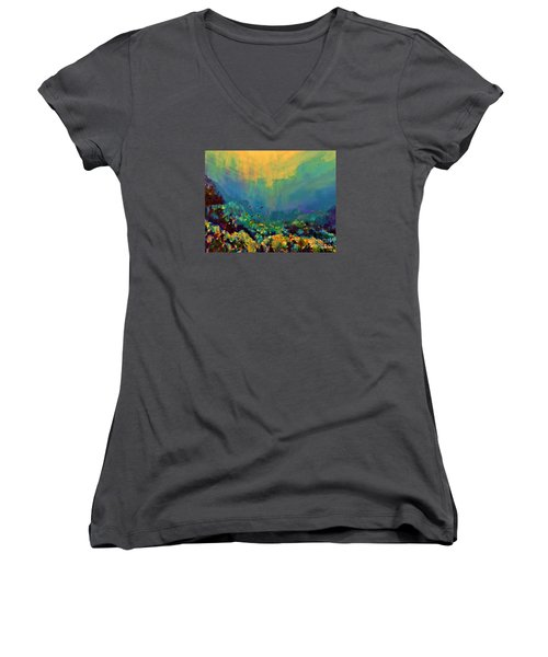 Women's V-Neck T-Shirt (Junior Cut) featuring the painting When The Sun Is Looking Into The Sea by AmaS Art