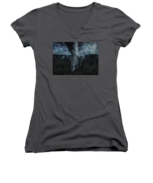 When The Tornado Hit The Bridge Women's V-Neck T-Shirt