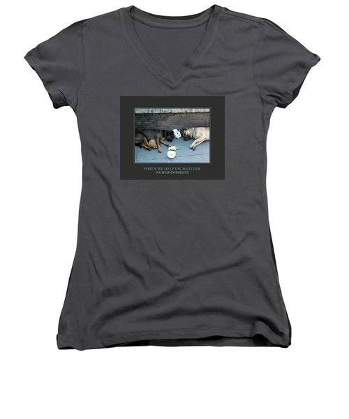 Women's V-Neck T-Shirt (Junior Cut) featuring the photograph When We Help Each Other by Donna Corless
