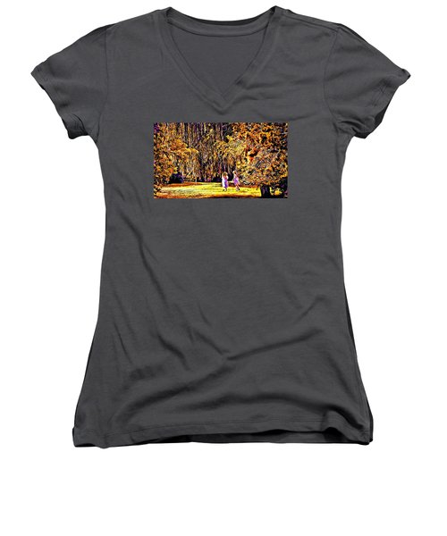 When We Were Young... Women's V-Neck T-Shirt (Junior Cut) by Barbara Dudley