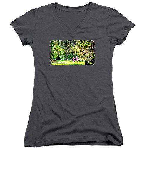 When We Were Young II Women's V-Neck T-Shirt (Junior Cut) by Barbara Dudley
