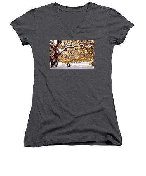 When Winter Blooms Women's V-Neck T-Shirt (Junior Cut) by Karen Wiles