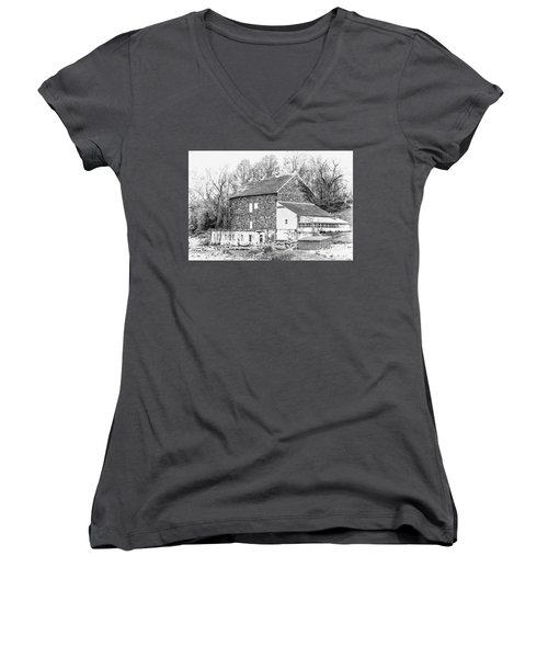 Where Have All The Farmers Gone Women's V-Neck T-Shirt (Junior Cut) by Judy Wolinsky