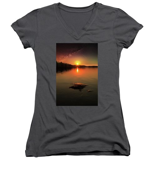 Where Heaven Touches The Earth Women's V-Neck T-Shirt (Junior Cut) by Rose-Marie Karlsen