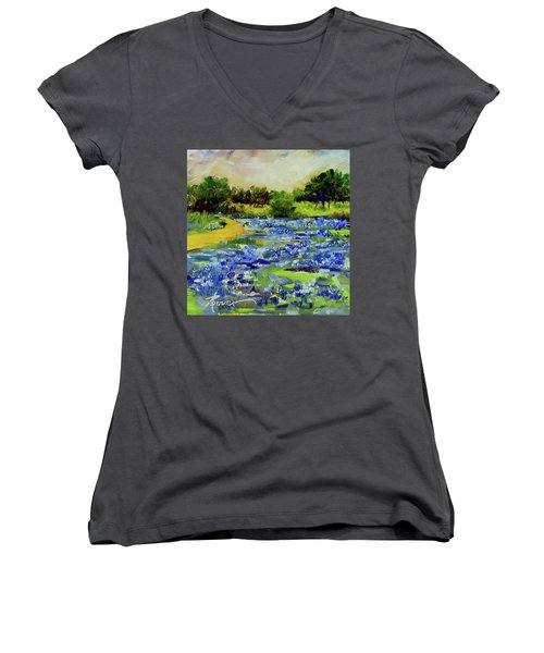 Where The Beautiful Bluebonnets Grow Women's V-Neck